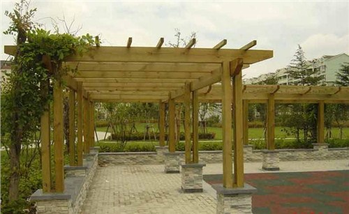 园林景观防腐木花架供应*别墅花园景观木桥施工*御悦供