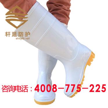 【白色食品雨靴】白色胶鞋 食品厂用雨靴-上海轩延供应